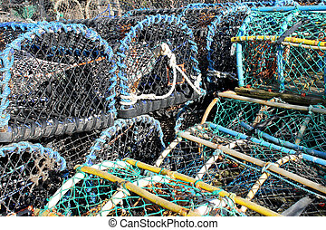 Lobster pots and creels - Stack of lobster pots and creels...