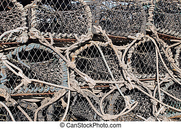 Lobster pots and creels - Background of lobster pots and...