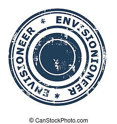 Envisionioneer business concept rubber stamp isolated on a...