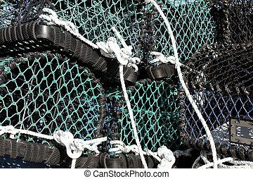Stack of lobster pots, Scarborough, England