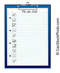 clip board to do - Blue business clip board with to do list...
