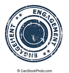 Engagement business concept rubber stamp isolated on a white...