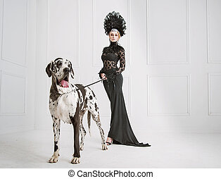 Lady in black with a friendly dog