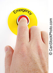 Emergency Stop - Person pushing emergency stop switch on...