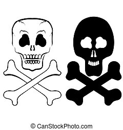 Human Skull Isolated - Human Skull Cross Bones Isolated on...