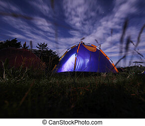 Night camping in the mountains