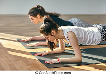 Two young women doing yoga asana Low Plank Pose. Ardha...