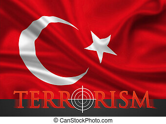 Turkey Terrorism - hairline cross on flag - Turkey terrorism...