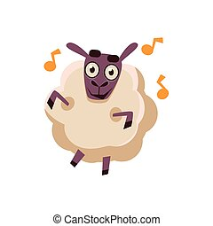 Sheep Dancing With Music Cute Childish Style Bright Color...