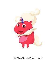 Red Unicorn In Futuristic Costume Flat Bright Color Childish...