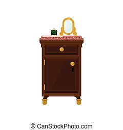 Antique Wooden Dresser And Mirror Flat Bright Color Vector...