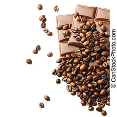 chocolate pieces and coffee beans on white background