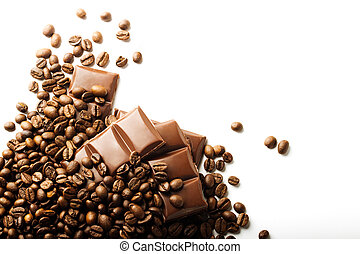 roasted coffee beans and chocolate pieces on white background