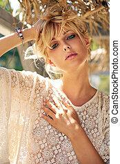 Portrait of a beautiful sensual blonde woman - Portrait of a...