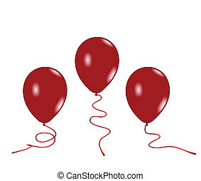 Realistic illustration of three red balloons