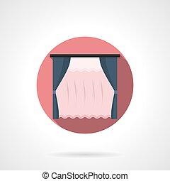 Curtains for kitchen round flat vector icon - Dark blue...