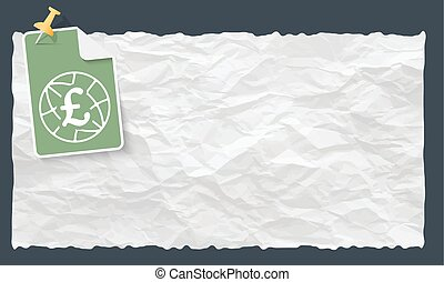 Crumpled paper and globe and pound sterling symbol