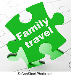 Travel concept: Family Travel on puzzle background - Travel...