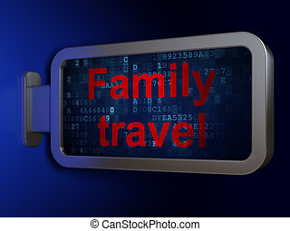 Tourism concept: Family Travel on billboard background -...