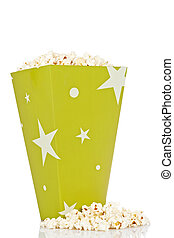 Bucket of popcorn - Popcorn in a bucket isolated on a white...