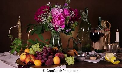 Dutch still life with fruits - Still life with fresh...