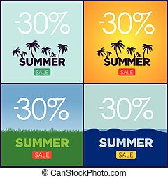 Set of summer sale promotion posters. Vector banners collection. Palm silhouette, grass and sea elements. Big discount.