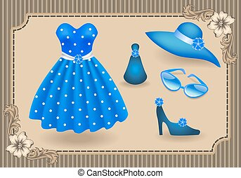 Fashionable dress with polka dots and accessories -...