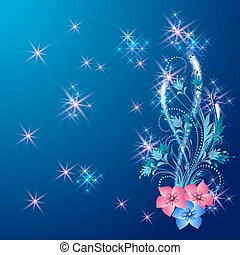 Floral ornament with shiny stars and glowing firework