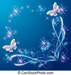Floral corner ornament with butterflies and shiny stars