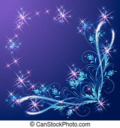 Floral corner ornament with shiny stars and glowing firework