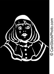 vector sketch white mime with big eyes - black and white...