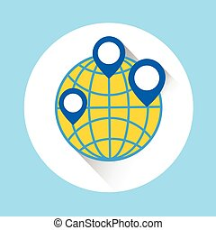 Globe Navigation World Map Icon Flat Vector Illustration