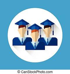 bata, grupo, gorra, graduación, graduado, Estudiante, icono