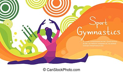 Artistic Gymnastics Athlete Twine Sport Competition Colorful...