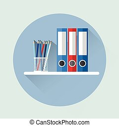 Office Shelf With Document Folder Icon Flat Vector...