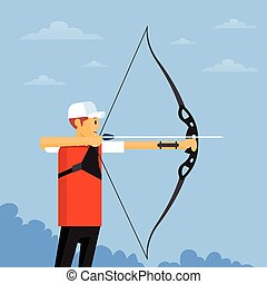 Archer Athlete Sport Competition Flat Vector Illustration