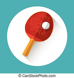 Table Tennis Racket Ball Equipment Sport Icon Flat Vector...