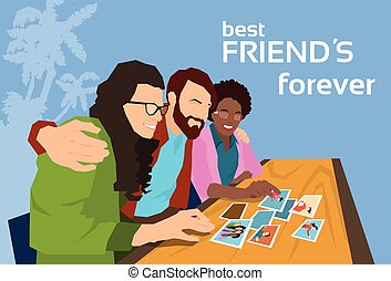 Friends Group Looking At Photos Happy Friendship Day Banner