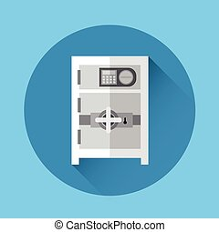 Safe Icon Bank Money Savings Storage Flat Vector...
