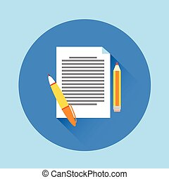 Paper Document With Pen Flat Icon