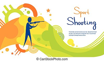 Shooting Athlete Sport Competition Colorful Banner -...