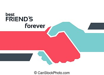 Hands Shaking Friendship Day Flat Vector Illustration