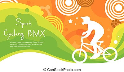 BMX Cycling Athlete Sport Competition Colorful Banner Flat...