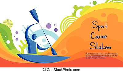Canoe Slalom Athlete Sport Competition Colorful Banner -...
