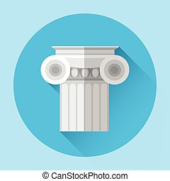 Antique Column Greek Architecture Icon Flat Vector...