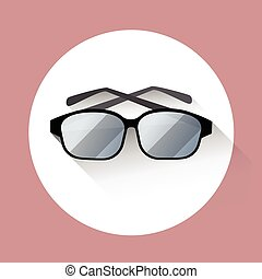 Eye Glasses Icon Flat - Eye Glasses Eyewear Icon Flat Vector...