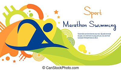 Marathon Swimming Athlete Sport Competition Colorful Banner...