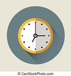 Clock Time Colorful Icon Flat Vector Illustration