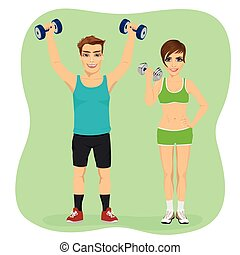 Young couple exercising with dumbbells together
