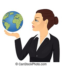 Side view of young businesswoman holding globe and looking at it